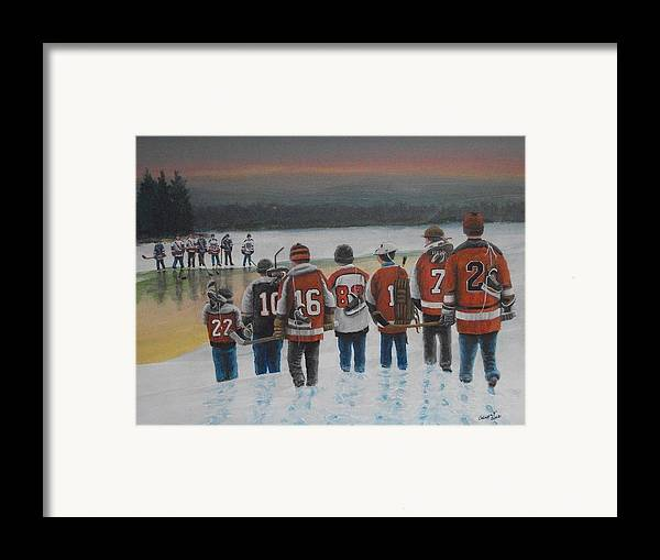 Winter Framed Print featuring the painting Winter Classic 2012 by Ron Genest