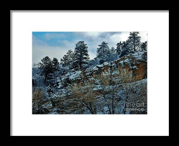 Snow Framed Print featuring the photograph Winter Cliff by CL Redding