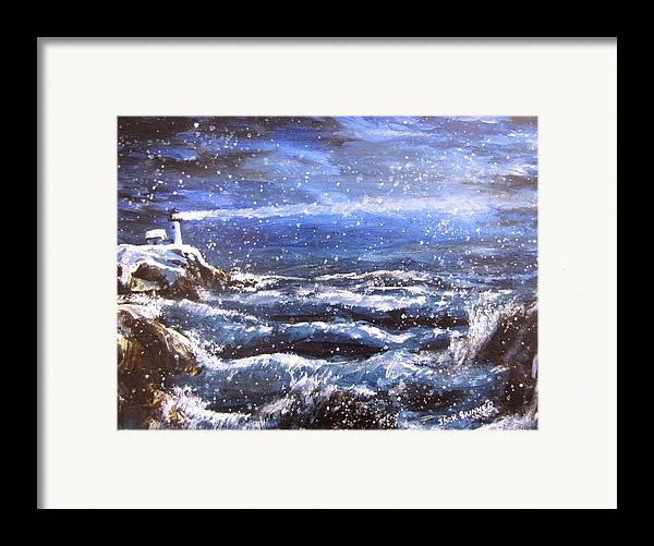 Ocean Framed Print featuring the painting Winter Coastal Storm by Jack Skinner