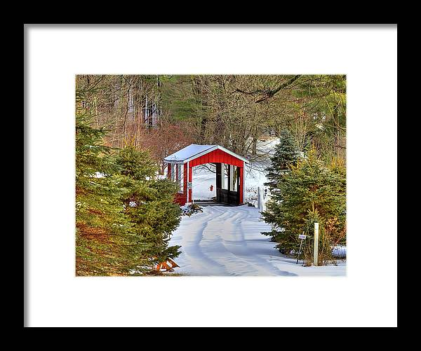 Bridge Framed Print featuring the photograph Winter Crossing by Evelina Kremsdorf