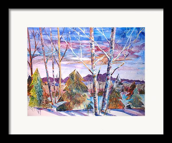 Landscape Framed Print featuring the mixed media Winter Day by Joyce Kanyuk