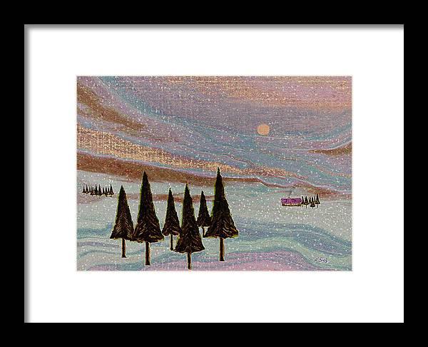 Contemporary Winter Landscape Textured Mountians Sunset Fir Trees Cabin Gordon Beck Art Framed Print featuring the painting Winter Dream by Gordon Beck