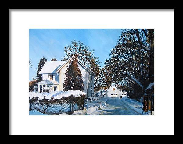 Landscape Framed Print featuring the painting Winter Drive by William Brody