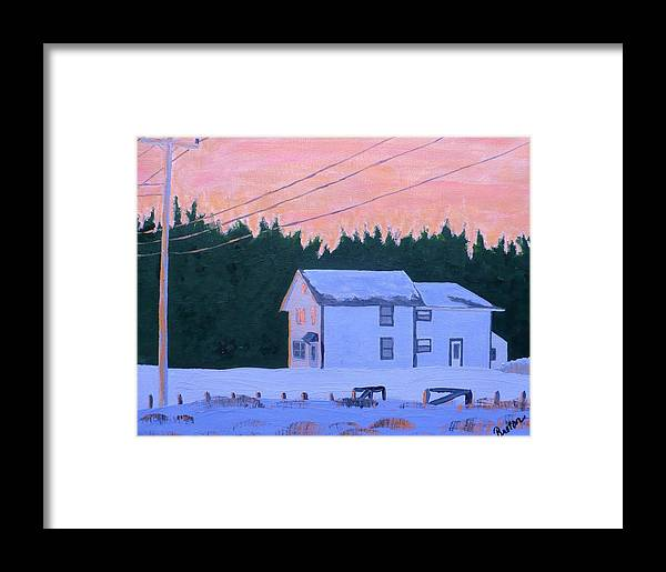 Maine Framed Print featuring the painting Winter Dusk by Laurie Breton