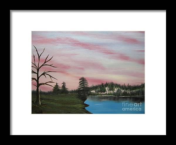 Landscape Framed Print featuring the painting Winter Evening by Todd Androy