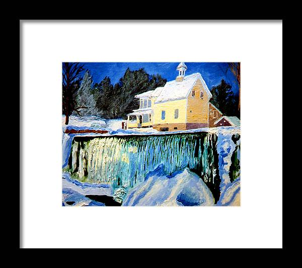 Waterfalls Framed Print featuring the painting Winter Falls by Stan Hamilton