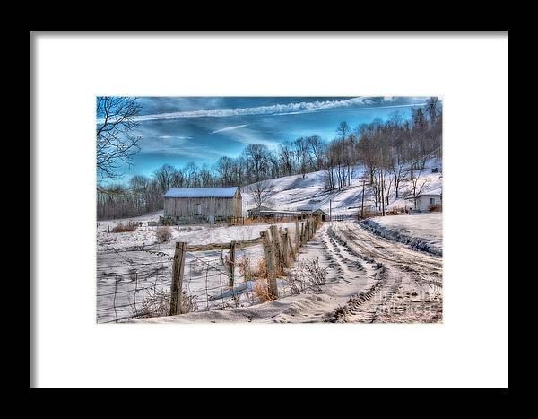 Barn Framed Print featuring the digital art Winter Farm Barn In Snow by Randy Steele