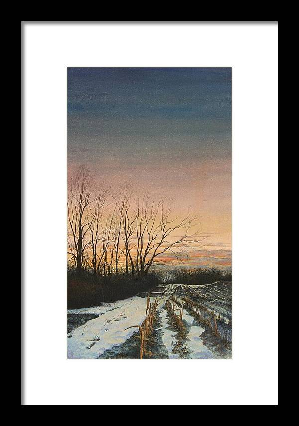 Landscape Framed Print featuring the painting Winter Field by Stephen Bluto
