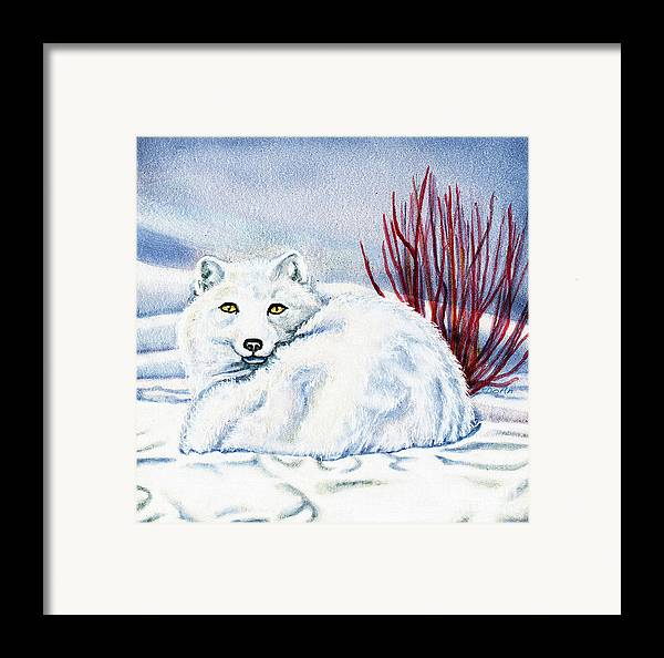 Winter Framed Print featuring the painting Winter Fox by Antony Galbraith