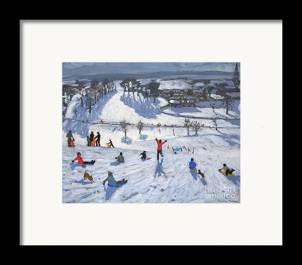 Winter Fun Framed Print featuring the painting Winter Fun by Andrew Macara