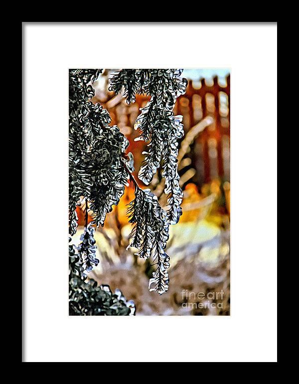 Ice Framed Print featuring the mixed media Winter Glow by Jolanta Anna Karolska