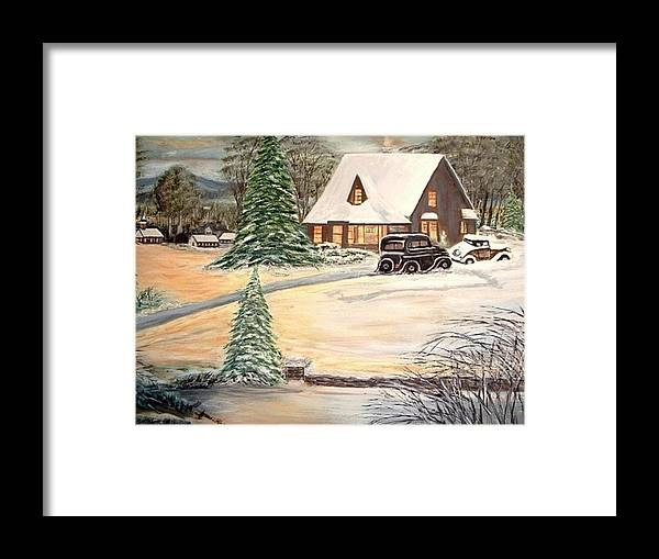 Landscape Home Trees Church Winter Framed Print featuring the painting Winter Home by Kenneth LePoidevin