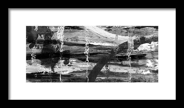 abstract framed print featuring the painting winter lake black and white abstract landscape painting by