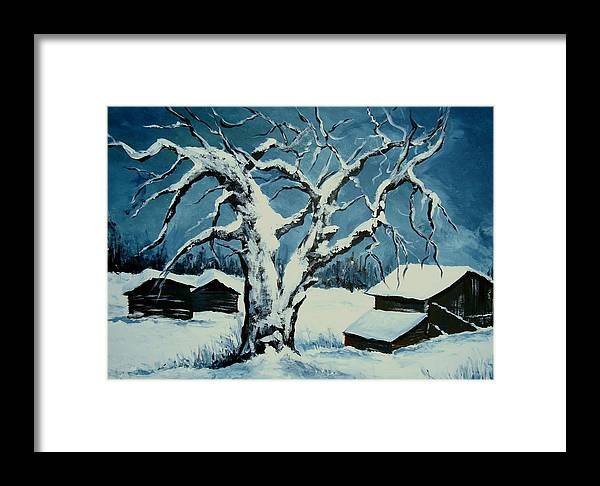 Landscape Framed Print featuring the painting Winter Landscape 571008 by Veronique Radelet