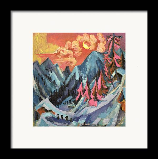 Winter Framed Print featuring the painting Winter Landscape In Moonlight by Ernst Ludwig Kirchner