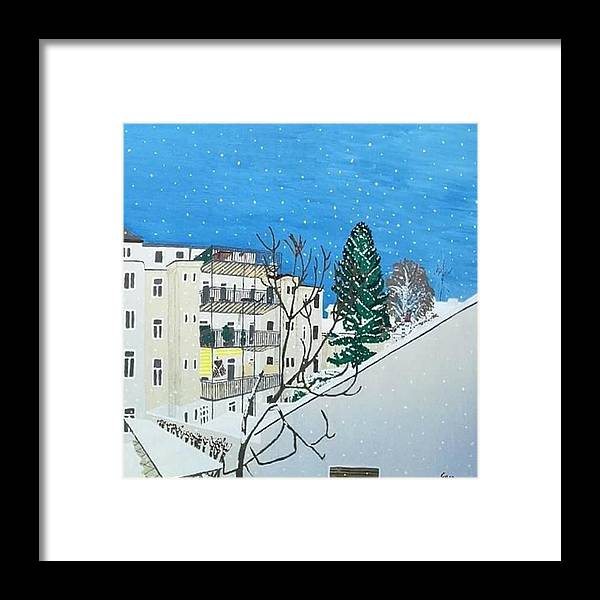White Framed Print featuring the painting Winter Landscape by Martina Gasp