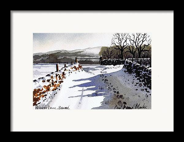 Snow Scene Framed Print featuring the painting Winter Lane Sowood by Paul Dene Marlor
