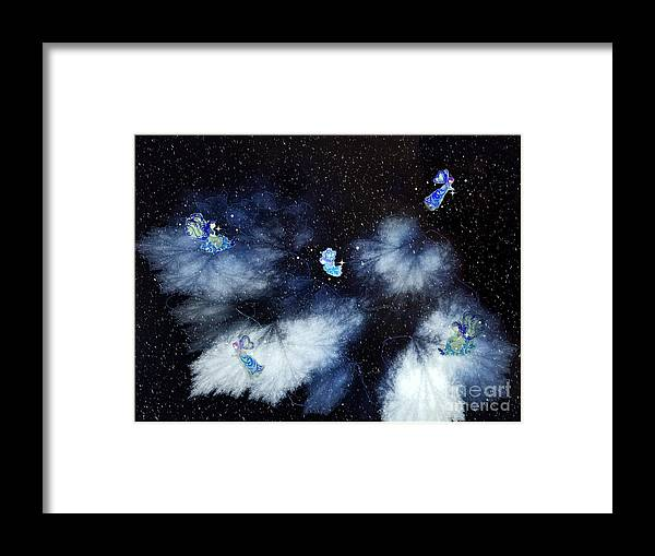 Blue Framed Print featuring the digital art Winter Leaves And Fairies by Diamante Lavendar
