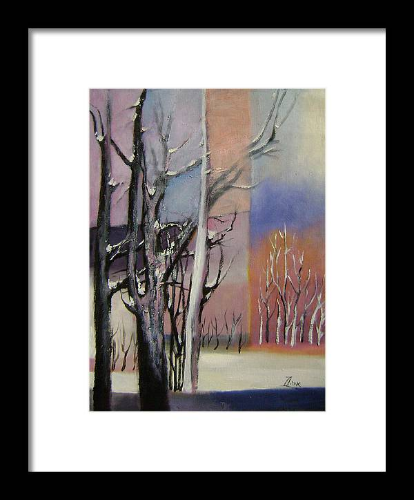 Abstract Framed Print featuring the painting Winter by Lian Zhen