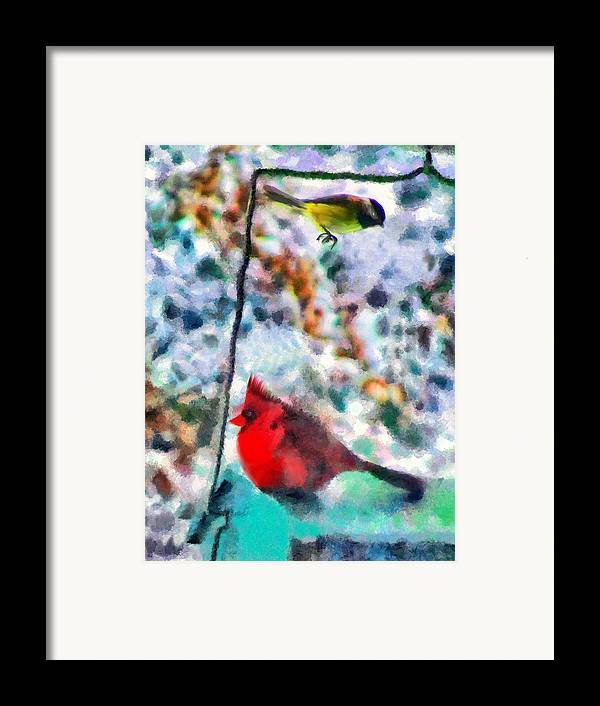 Birds Framed Print featuring the mixed media Winter Meals by Marilyn Sholin