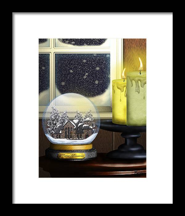Snow Framed Print featuring the digital art Winter Memories by Carl Perry