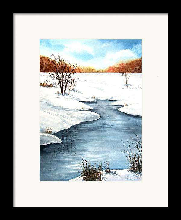 Original Watercolour Framed Print featuring the painting Winter Memories by Sharon Steinhaus