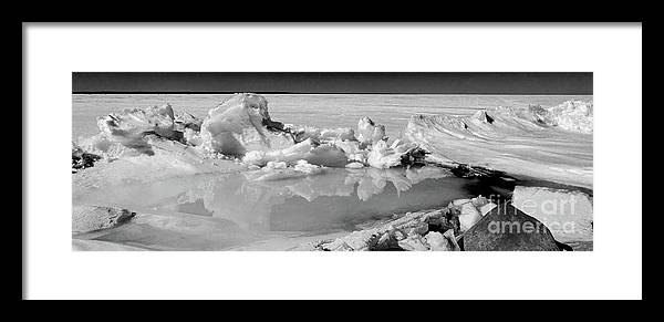 Ice Framed Print featuring the photograph Winter Mini Landscape On A Lake by Les Palenik