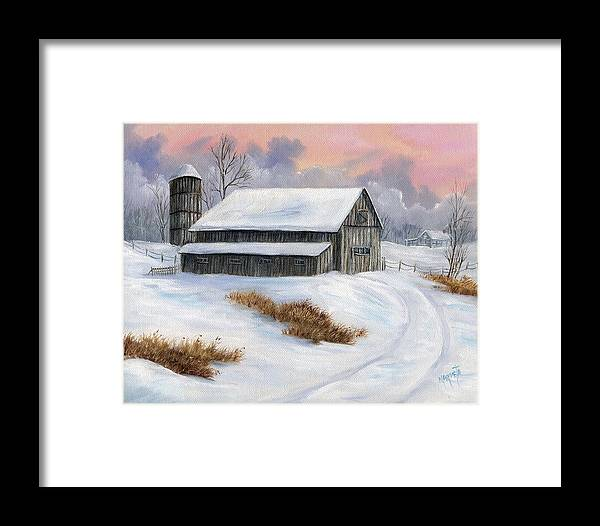 Landscape Snow Landscape Framed Print featuring the painting Winter Moment by Marveta Foutch