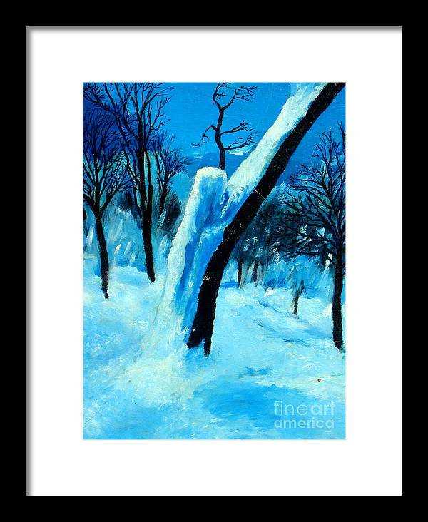 Winter Framed Print featuring the painting Winter Moonlight And Snow by Patrick Mills