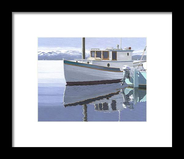 Marine Framed Print featuring the painting Winter Moorage by Gary Giacomelli