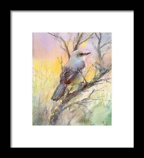 Nature Framed Print featuring the painting Winter Morning - Mockingbird by Elizabeth Evans