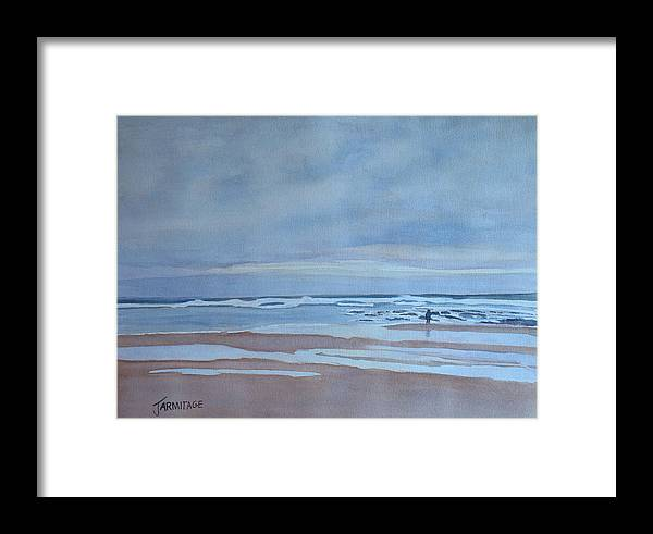 Ocean Framed Print featuring the painting Winter Morning Solitude by Jenny Armitage
