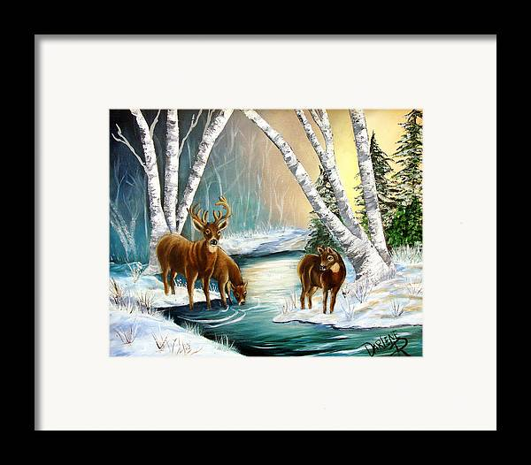 Winter Framed Print featuring the painting Winter Morning Walk by Darlene Green