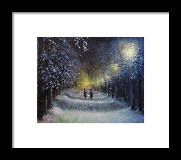 Night Lights Framed Print featuring the painting Winter night walk by Natalja Picugina