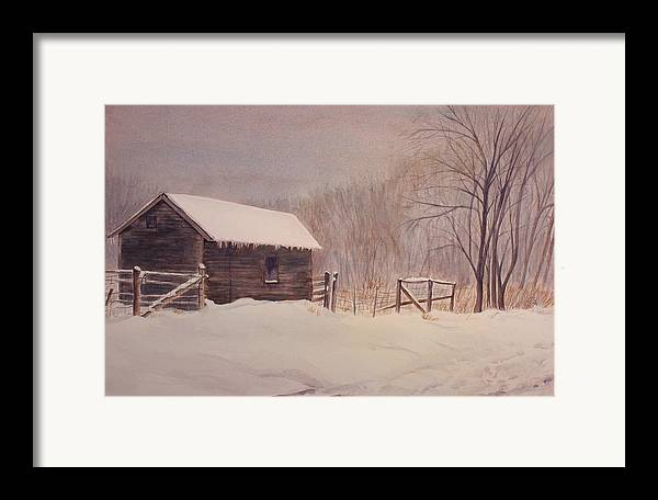 Barn Framed Print featuring the painting Winter On The Farm by Debbie Homewood