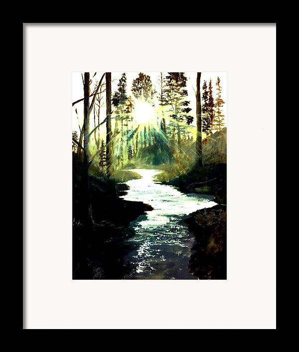 Pictures Canvas Framed Print featuring the painting Winter Over Almond Creek by Travis Ragan