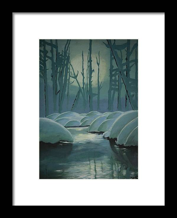 River Framed Print featuring the painting Winter Quiet by Jacqueline Athmann