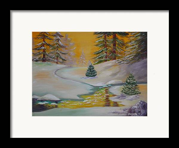Winter Framed Print featuring the painting Winter by Quwatha Valentine