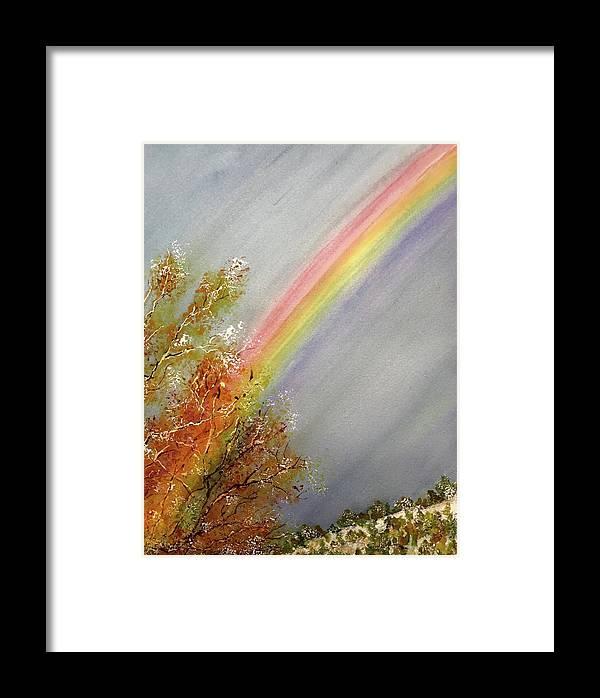 Rainbow Framed Print featuring the painting Winter Rainbow by Carol Warner