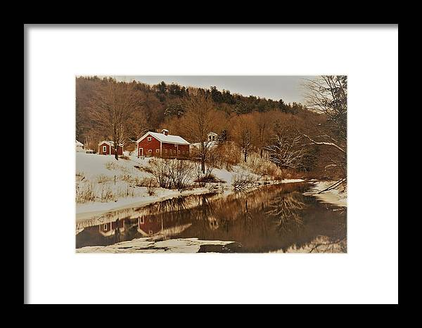 Snowfall Framed Print featuring the photograph Winter Reflection 2 by Debbie Storie