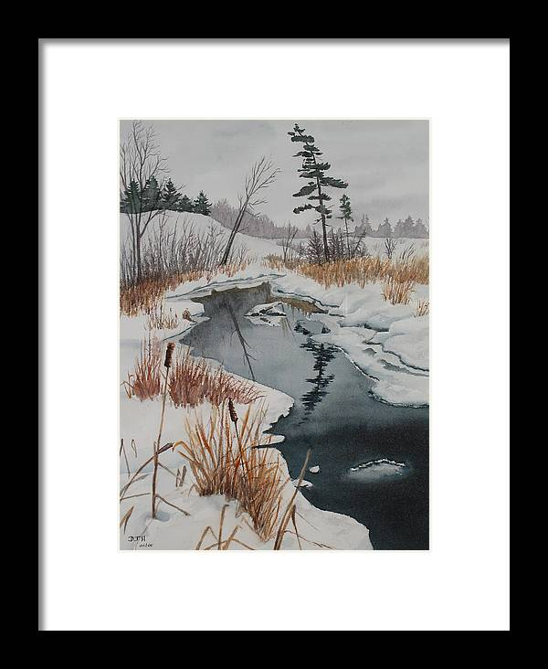 Winter Framed Print featuring the painting Winter Reflection by Debbie Homewood