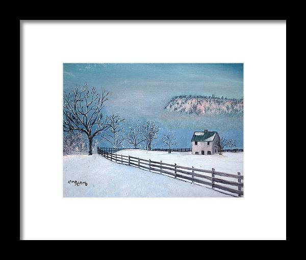 Landscape Framed Print featuring the painting Winter Refuge by L A Raven