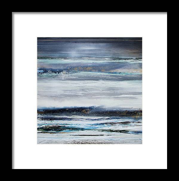Winter Landscape Textures Blue Abstract Framed Print featuring the mixed media Winter Rhythms Redesdale Blue Series 2009 by Mike  Bell