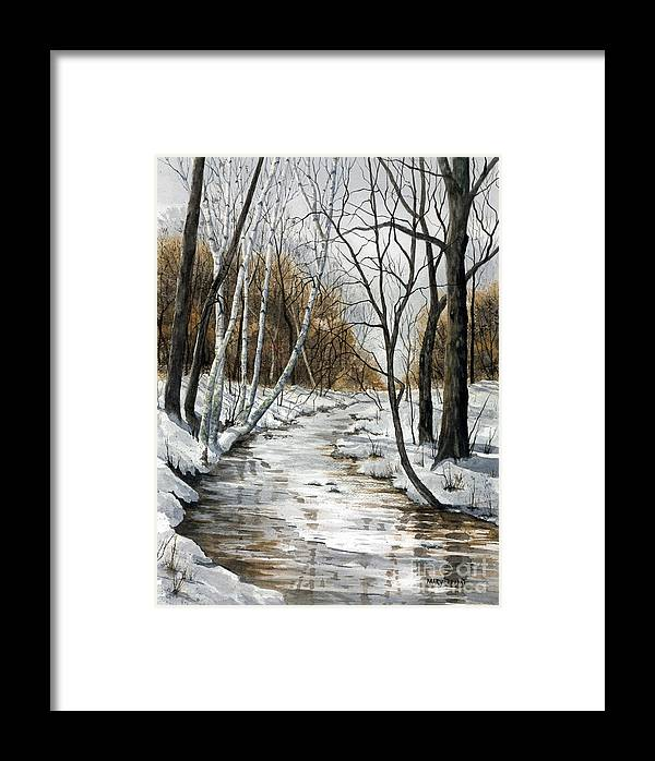 Minnesota Framed Print featuring the painting Winter River by Mary Tuomi