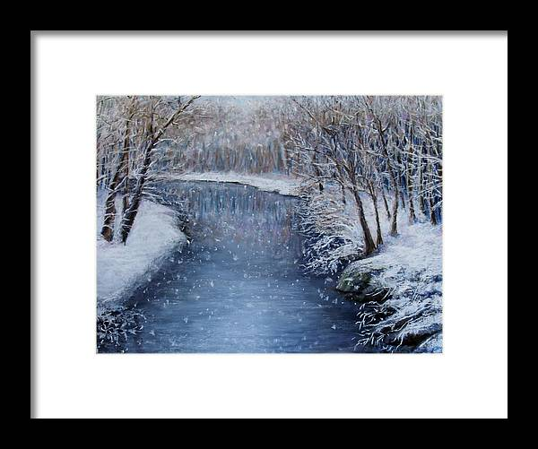 Landscape Framed Print featuring the painting Winter River by Susan Jenkins