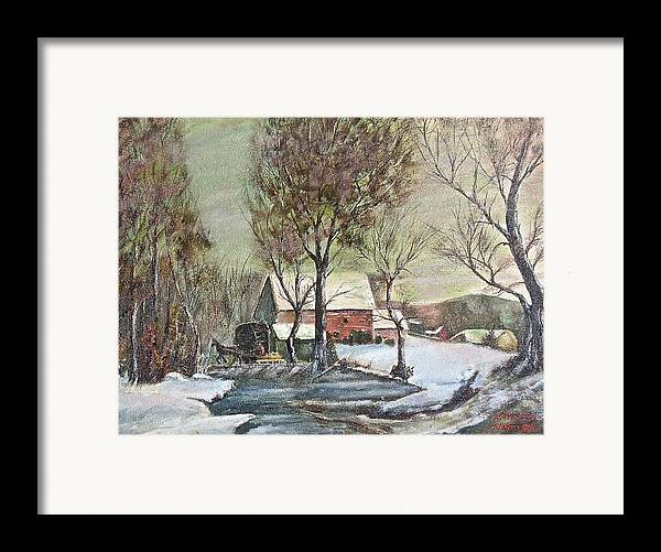 Landscape Painting Framed Print featuring the painting Winter Scene With Horse by Nicholas Minniti