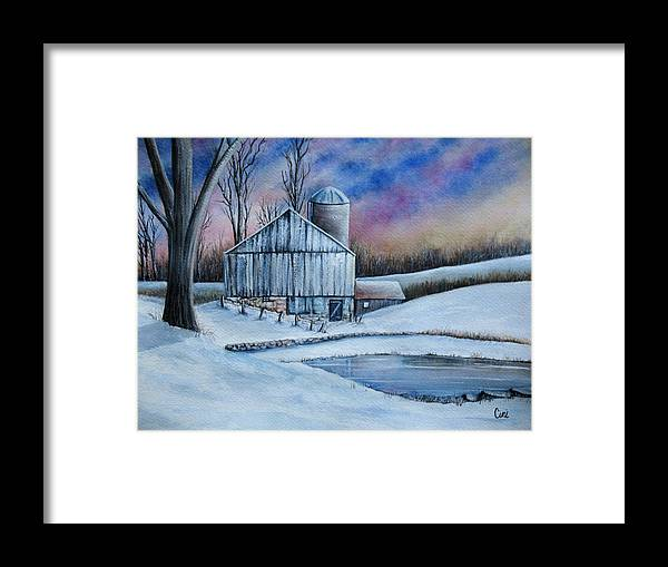 Snow Framed Print featuring the painting Winter Serenity by Lisa Cini