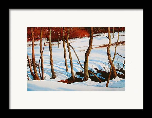 Landscape Framed Print featuring the painting Winter Shadows by Faye Ziegler