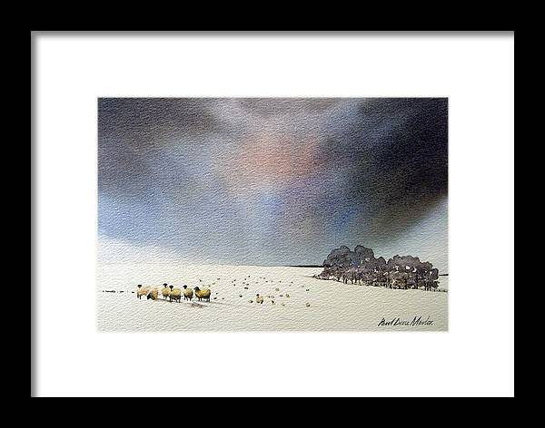 Landscape Framed Print featuring the painting Winter Snow Swaledale by Paul Dene Marlor
