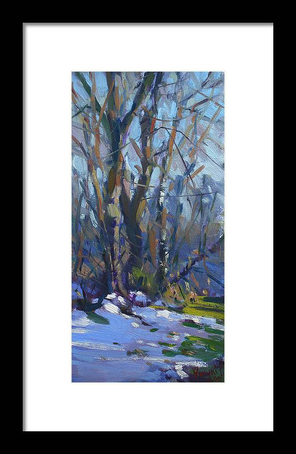 Winter Framed Print featuring the painting Winter-spring Kiss by Ylli Haruni